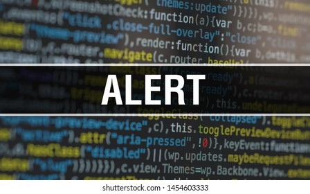 Alert with Abstract Technology Binary code Background.Digital binary data and Secure Data Concept. Software / Web Developer Programming Code and Alert. Alert Java Script Abstract Computer Script