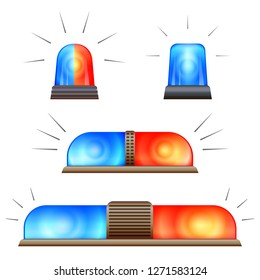 Alert flasher icon set. Cartoon set of alert flasher icons for web design