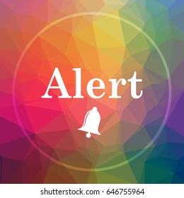 Alert icon. Alert website button on low poly background.