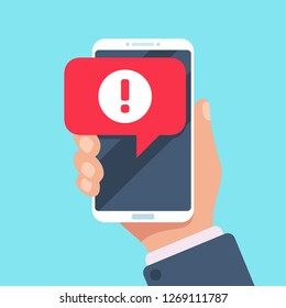 Alert message mobile notification. Danger error alerts, smartphone virus problem or insecure messaging spam problems notifications on phone screen, spammer alertness flat  illustration