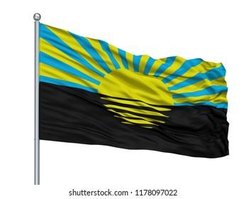 Alex K Chernihiv Prapor City Flag On Flagpole, Country Ukraine, Isolated On White Background