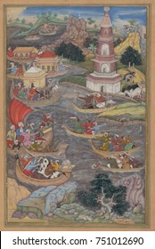 ALEXANDER FIGHTS A SEA BATTLE, by Dharmadas, 1590s, Indian, Mughul watercolor painting. Battle scene of Alexander the Great, depicted with costumes and weapons of the 16th century. Alexander construct
