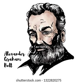 Alexander Graham Bell watercolor portrait with ink contours. Scottish-born scientist, inventor, engineer, and innovator