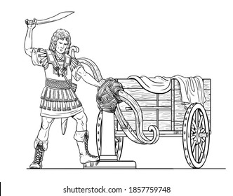 Alexander the Great cutting the Gordian Knot. Historical drawing.