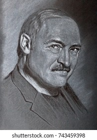 Alexander Lukashenko president of Belorussia artistic portrait made by charcoal and chalk on toned textured paper. Black and white