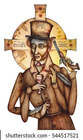 Alexander Pushkin - caricature of the Russian poet and writer. 1799 - 1837.