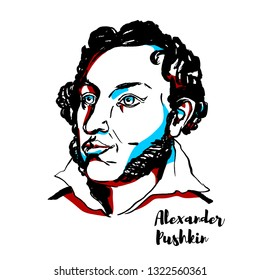 Alexander Pushkin engraved portrait with ink contours. Russian poet, playwright, and novelist of the Romantic era, the founder of modern Russian literature.