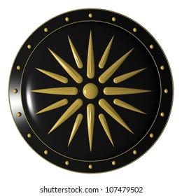 Alexander shield/ greek shield 3d illustration