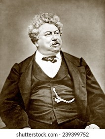 "Alexandre Dumas pere (1802-1870) popular French dramatist and historical novelist, best known as the author of ""The Count of Monte Cristo"" and ""The Three Musketeers."" ca.1865."