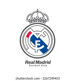 alexandria, egypt, 21 dec 2018: real madrid football club logo printed on paper