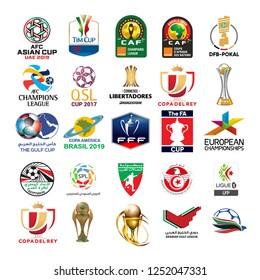 Alexandria, Egypt - december 6, 2018:  football leagues logo printed on white paper