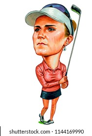 Alexis Noel Lexi Thompson is an American professional golfer. Illustration,Caricature,Design,July,29,2018