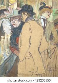 Alfred la Guigne, by Henri de Toulouse-Lautrec, 1894, French Post-Impressionism painting, oil on cardboard. This is a portrait of Lautrec's friend, Bonnefoy. The painting gained it's title, when Toul
