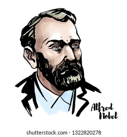 Alfred Nobel watercolor portrait with ink contours. Swedish chemist, engineer, inventor, businessman, and philanthropist.