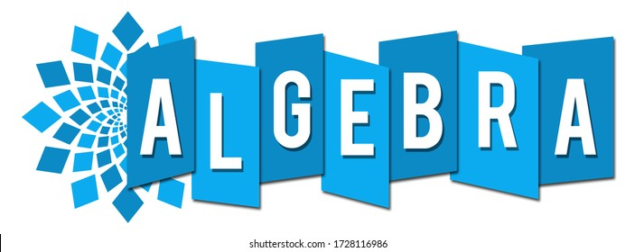 Algebra text written over blue background.