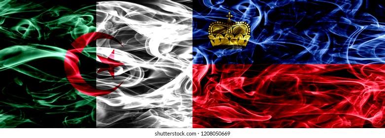 Algeria, Algerian vs Liechtenstein, Liechtensteins smoke flags placed side by side. Concept and idea flags mix