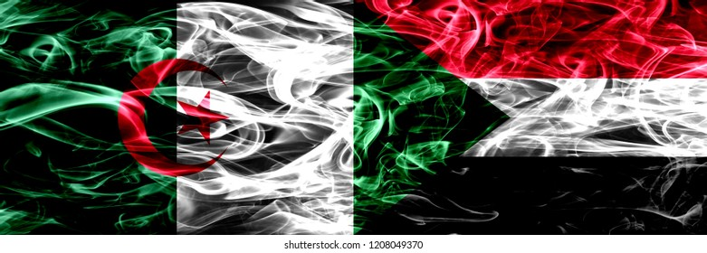Algeria, Algerian vs Sudan, Sudanese smoke flags placed side by side. Concept and idea flags mix