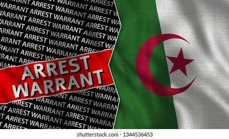 Algeria and Arrest Warrant Titles Flag Together - 3D illustration Fabric Texture
