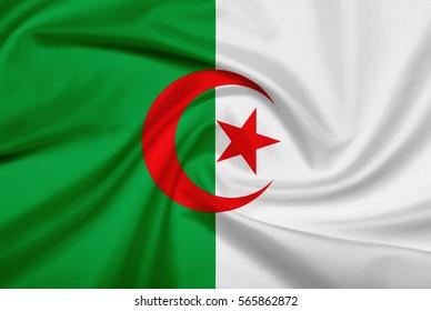 Algeria flag with fabric texture. Flag of Algeria. 3D illustration.