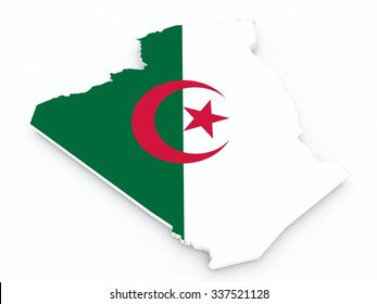 algeria flag on 3d map