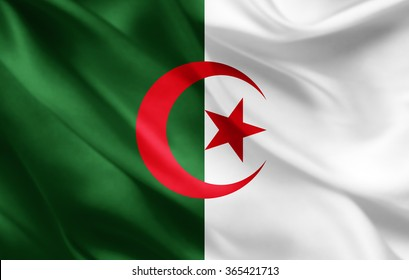 Algeria flag of silk