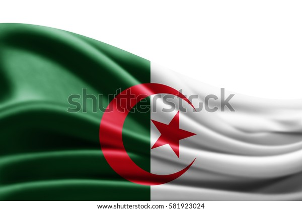 Algeria flag of silk with copyspace for your text or images and white background -3D illustration