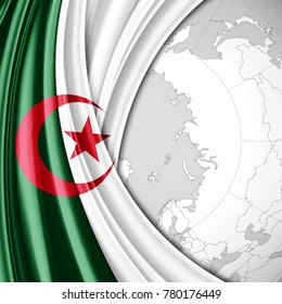 Algeria  flag of silk  and world map background-3D illustration