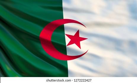 Algeria flag. Waving flag of Algeria 3d illustration. Algiers