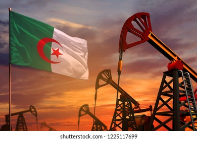 Algeria oil industry concept, industrial illustration. Algeria flag and oil wells and the red and blue sunset or sunrise sky background - 3D illustration
