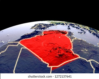 Algeria from space on planet Earth at night with bright city lights. Detailed plastic planet surface with real mountains. 3D illustration. Elements of this image furnished by NASA.