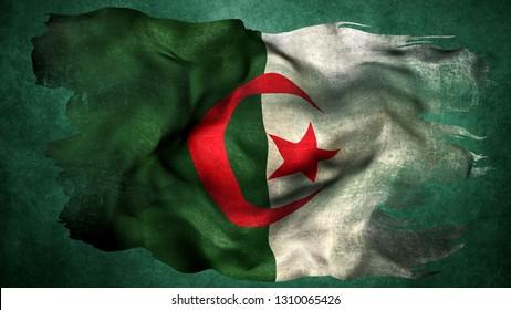 Algeria  Tattered Flag 3D render