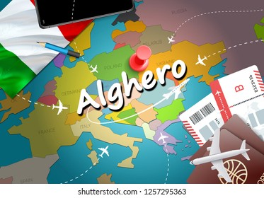 Alghero city travel and tourism destination concept. Italy flag and Alghero city on map. Italy travel concept map background. Tickets Planes and flights to Alghero holidays Italian vacation