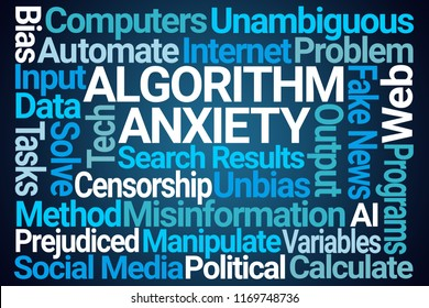 Algorithm Anxiety Word Cloud on Blue Background