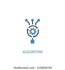 Algorithm concept 2 colored icon. Simple blue element illustration. Algorithm concept symbol design from Artificial Intelligence set. Can be used for web and mobile UI/UX