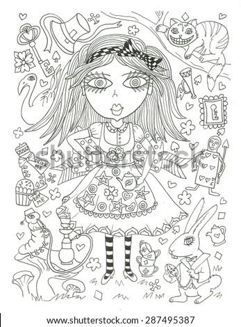 Alice Wonderland Coloring Page Sketch Ink Stock Illustration ...