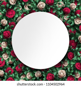 Alice in Wonderland. Red  roses and white roses  background and white round frame. Wonderland background. Illustration