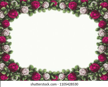 Alice in Wonderland. Red  roses and white roses on  white background. Wonderland background. Rose flower frame. Illustration