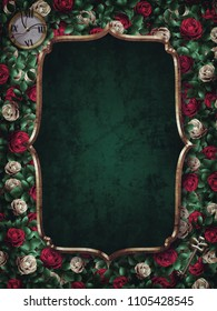 Alice in Wonderland. Red  roses and white roses background and gold frame. Clock and key.