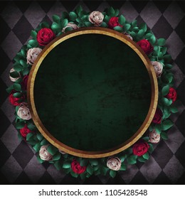 Alice in Wonderland. Red  roses and white roses on  chess background and gold round frame