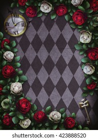 Alice in Wonderland. Red  roses and white roses on  chess background. Clock and key. Wonderland background. Rose flower frame. Illustration