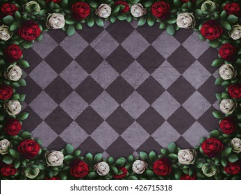Alice in Wonderland. Red  roses and white roses on  chess background. Wonderland background. Rose flower frame. Illustration