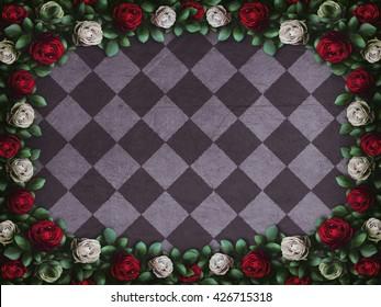 Alice in Wonderland. Red  roses and white roses on  chess background. Wonderland background. Rose flower frame. Illustration