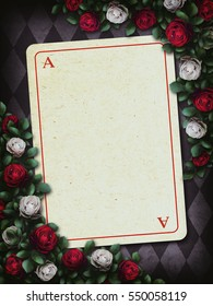 Alice in Wonderland. Red roses and white roses on chess background, playing card. Rose flower frame