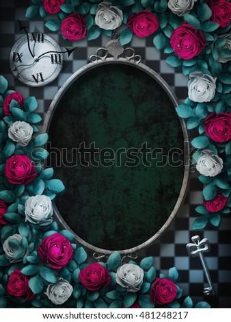 Royalty Free Stock Illustration Of Alice Wonderland Red Roses White