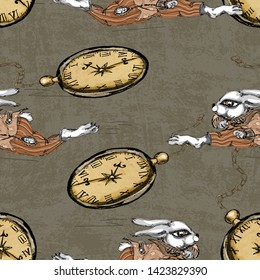 Alice In Wonderland Running Stock Illustrations Images Vectors