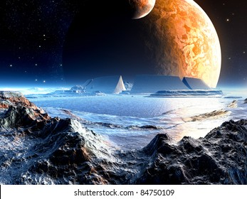 Alien Arena Ruins under Two Moons