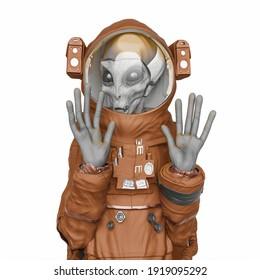 alien astronaut in badass meme pose, 3d illustration