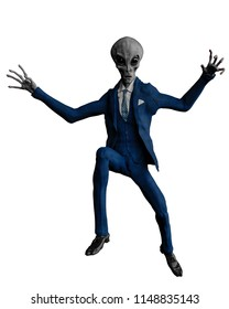alien the businessman in a white background 3d illustration