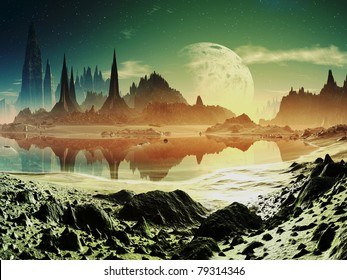 Alien City Ruins beside the Lake