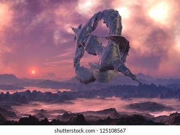 Alien craft in flight over hostile , mountain landscape covered with fog.